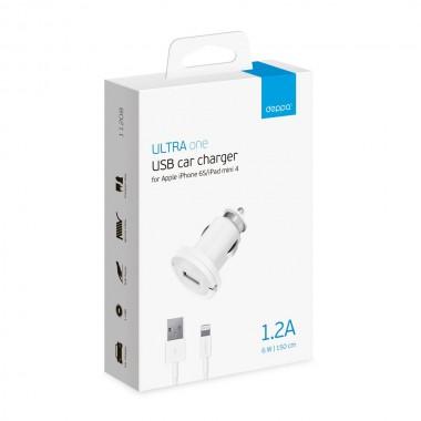 АЗУ USB 1А, дата-кабель 8-pin, белый, Ultra, Deppa