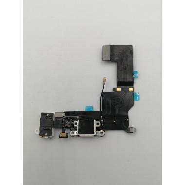 Шлейф для Apple iPhone 5S на системный разъем + микрофон Белый