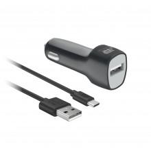 АЗУ BoraSCO 2 USB, 1A, дата-кабель Type-C 1м Черный